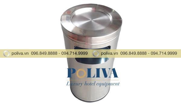 Thùng rác có gạt tàn chất liệu inox cao cấp bền bỉ, sáng bóng, chống han gỉ