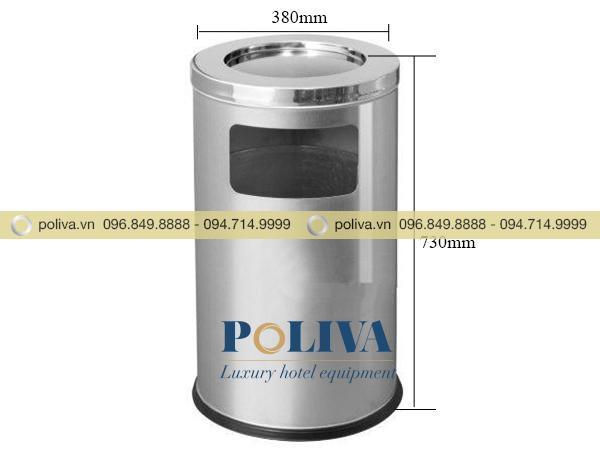 Thông tin kích thước thùng rác inox trụ tròn có gạt tàn