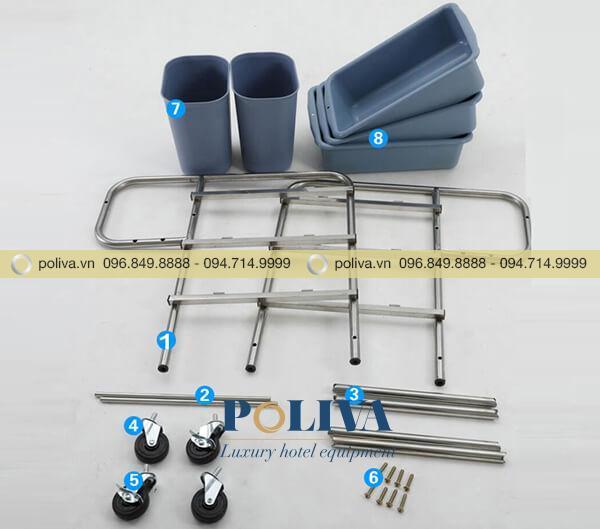 Các bộ phận của sản phẩm xe đẩy khung inox thu dọn bát đĩa