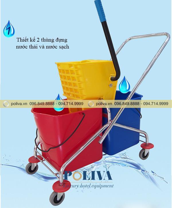Thiết kế hai thùng đựng nước sạch và nước thải