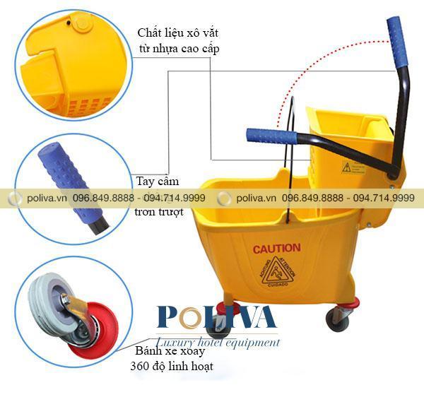 Mô tả cấu tạo các bộ phận của xe vắt móp lau sàn