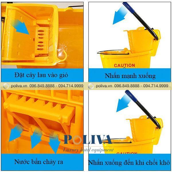 Cơ chế hoạt động của xe vắt móp lau sàn