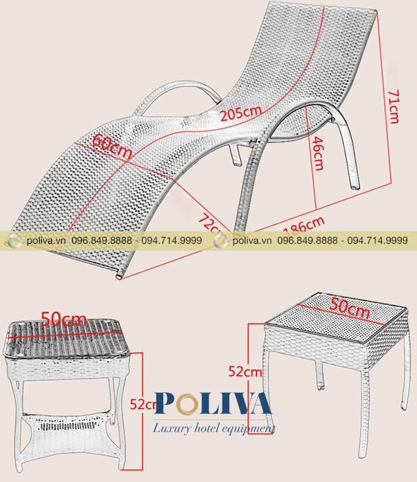 Thông số kích thước ghế bể bơi nhựa giả mây