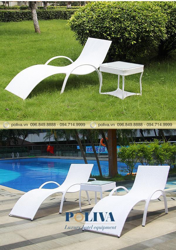 Ghế bể bơi kết hợp với bàn để trà, cà phê, rượu vang...