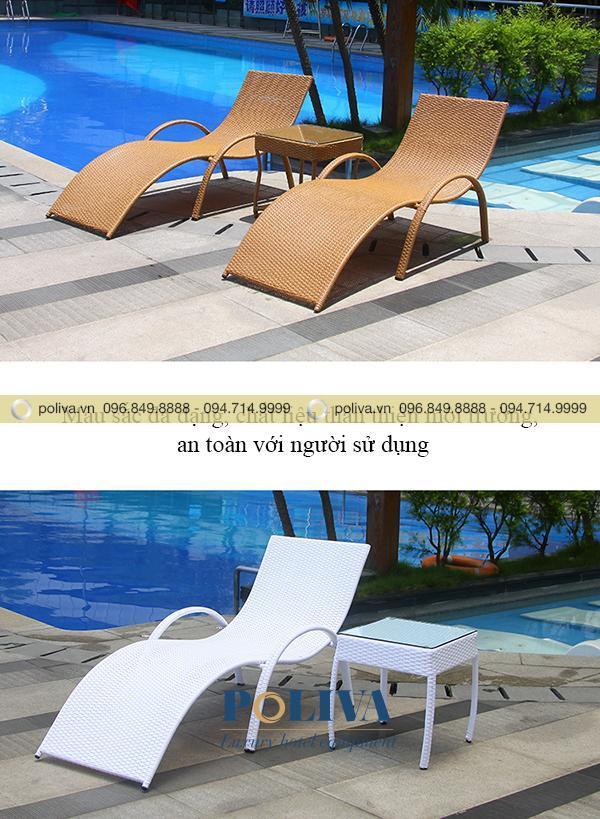 Ghế bể bơi có nhiều màu khác nhau