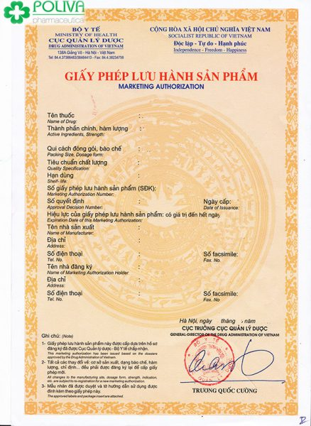 giấy phép lưu hành thuốc