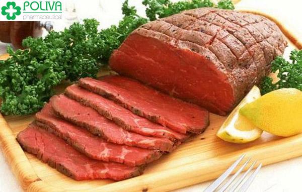 Các bữa ăn nên thường xuyên sử dụng các loại thịt màu đỏ