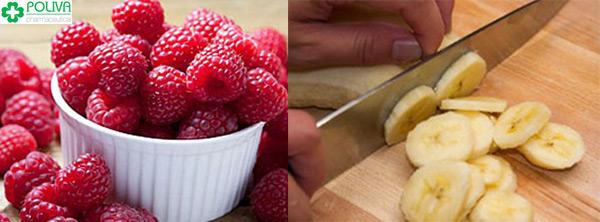 Sinh tố Phúc bồn tử và chuối dễ làm lại dinh dưỡng.