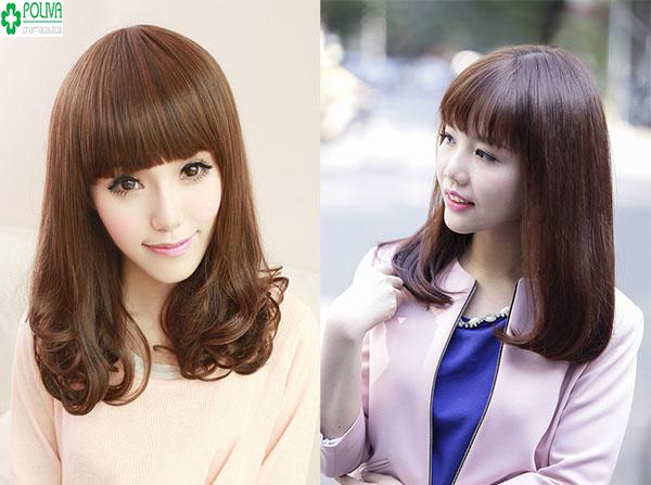 Kiểu tóc ngang vai xoăn nhẹ kết hợp với mái bằng duyên dáng tạo nét ngây thơ cho bạn gái