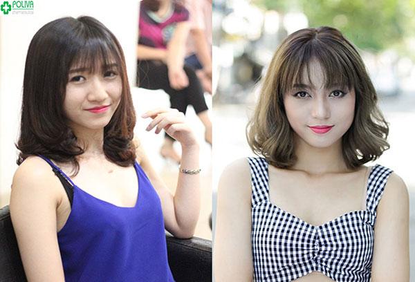 Thu hút với kiểu tóc xoăn bồng bềnh kết hợp với kiểu mái lưa thưa tạo nên nét đẹp sang trọng cho bạn gái