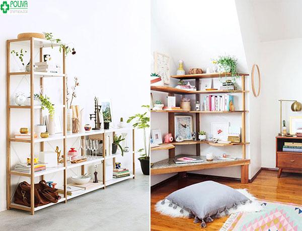 Bạn có thể vừa đặt sách, vừa điểm thêm những cây cảnh nhỏ nhăn để tăng nét sinh động cho ngôi nhà