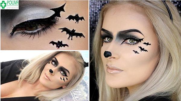 """Hóa trang Halloween kiểu chú dơi tập trung vào 2 bên vùng mắt, đôi mắt cũng trở nên quyến rũ và """"chết người"""" hơn"""
