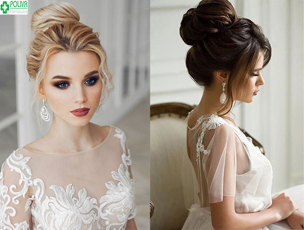 Kiểu tóc búi cao hững hờ giúp khoe trọn đường nét thanh tú trên gương mặt cô dâu