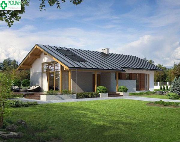 Mẫu nhà với kiểu mái tôn giả ngói tạo nét độc đáo, phong cách riêng