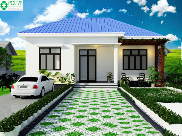 Kiểu mẫu nhà cấp 4 đơn giản với sự kết hợp của mái xanh dương, sơn tường màu trắng cùng lối vào có gạch ốp lát tạo nên không gian thoáng mát