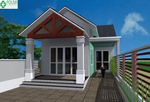 Kiểu nhà chữ L vuông vức, được chia làm 2 mái, mái chính là thân nhà, mái phụ là phòng bếp