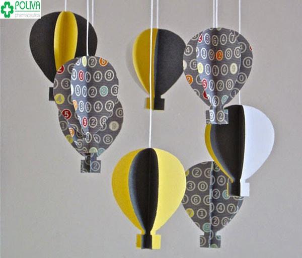 Cách làm đồ trang trí bằng giấy hình khinh khí cầu vô cùng đơn giản