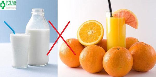 Tuyệt đối không uống nước cam với sữa