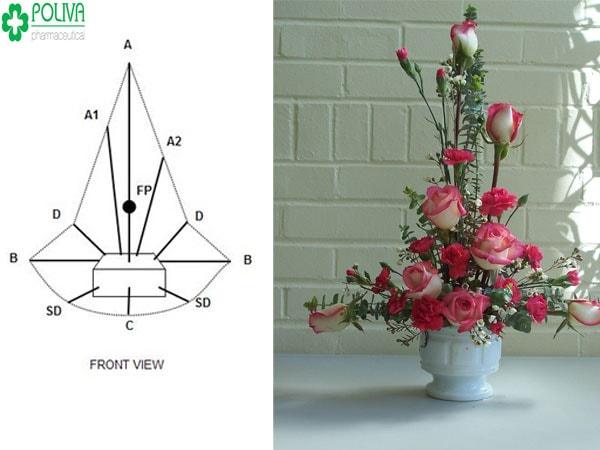 Kiểu cắm hoa đẹp hình chữ T hiện đại cho không gian nhà