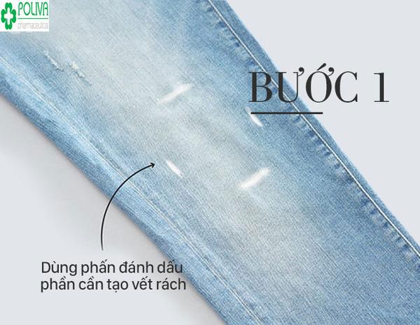 Cách làm quần jean rách đúng phải xác định phần quần làm rách