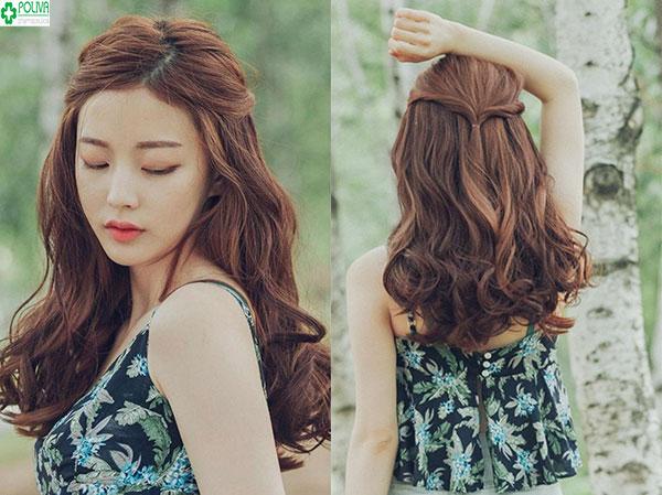 Buộc tóc nửa đầu tăng nét nữ tính, sang trọng cho bạn gái đi dự đám cưới