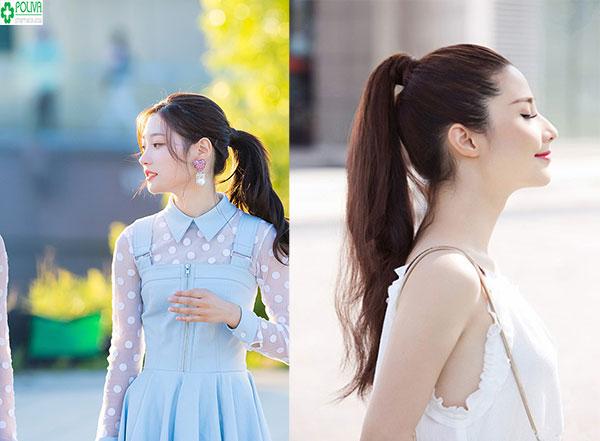 Buộc tóc đuôi ngựa là một trong các kiểu tóc đi đám cưới đơn giản, vô cùng xinh đẹp