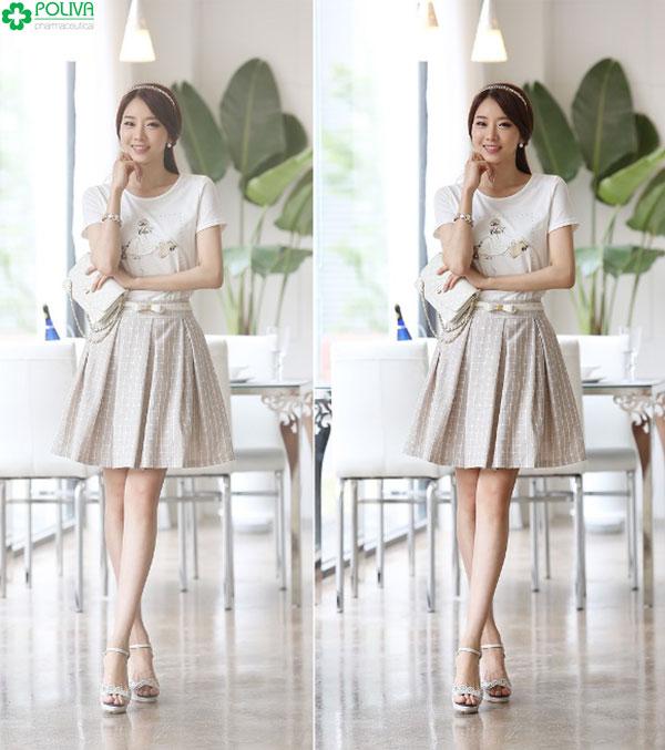 Ngoài kiểu váy suông thì chân váy xòe cũng là item hoàn hảo để phối đồ cho người gầy nữ