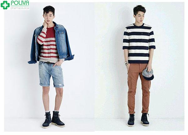 Phối đồ cho người gầy nam với chiếc áo kẻ mix chung với quần lửng hoặc quần dài đều vô cùng nam tính như Nam Joo Hyuk