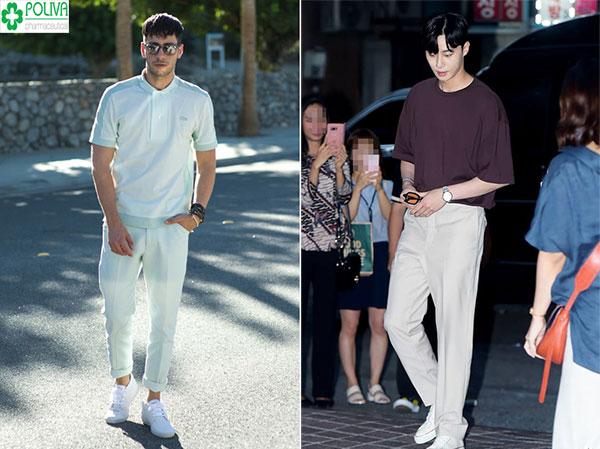 Một đôi giày thẻ thao trắng mix chung với quần tây trắng tone sure tone hay lệch tone như Park Seo Joon đều rất phù hợp