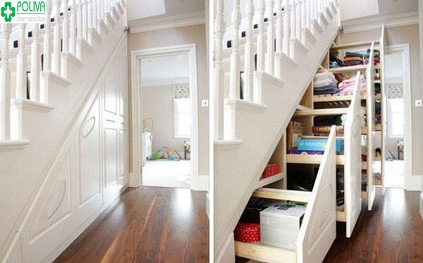 Tận dụng gầm cầu thang làm tủ để đồ thuận tiện cho gia đình