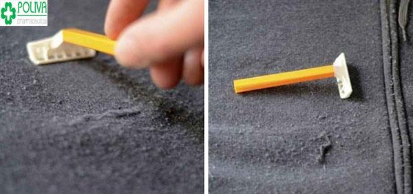Dùng dao lam chữa cháy cho áo bị xù lông