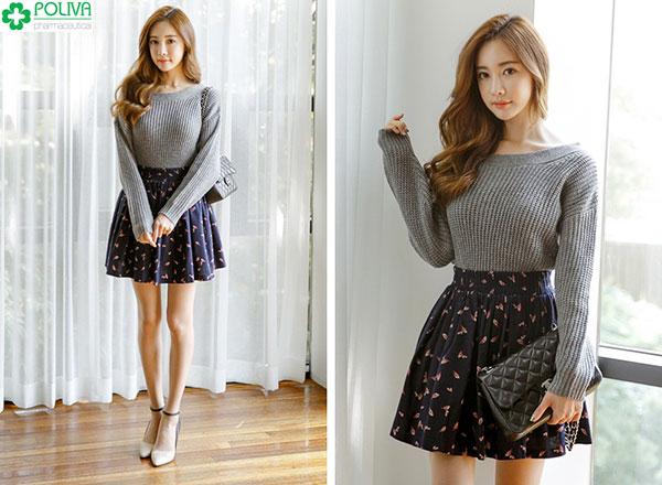 Váy xòe hoa mix chung với áo len là cách ăn mặc trẻ trung được nhiều cô nàng yêu thích