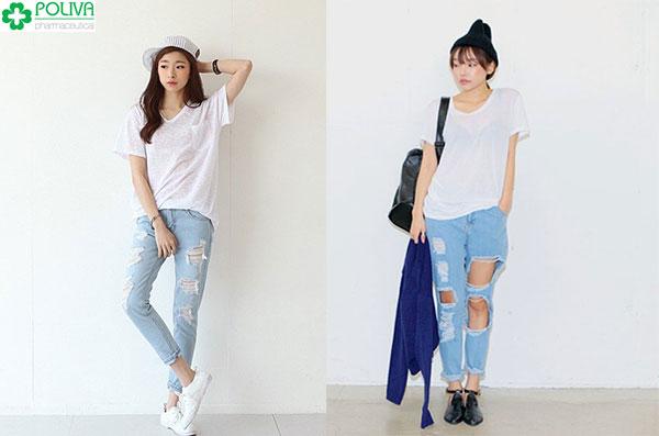 Cách ăn mặc đồ trẻ trung với áo phông và quần jean rách giúp nàng trẻ thêm vài tuổi
