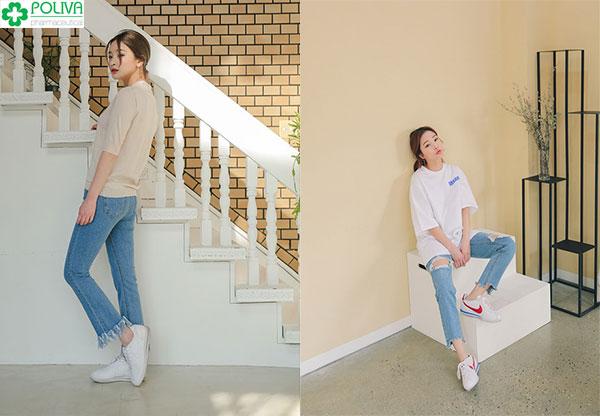 Dù diện áo phông với quần jean theo cách nào thì trông bạn cũng trẻ trung và năng động hơn rất nhiều
