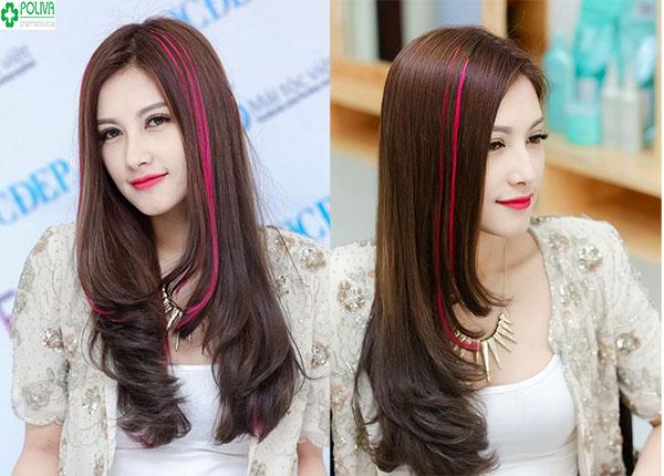 Cá tính với sự kết hợp của mái tóc nâu với highlight tím