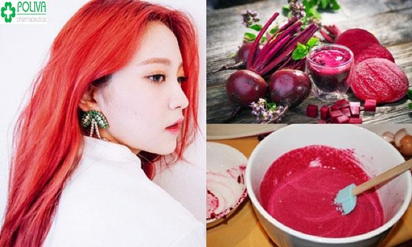 Sử dụng củ dền nhuộm tóc cho mái tóc màu nhung đỏ độc đáo