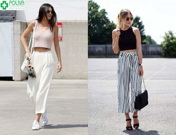 Thời trang hơn khi phối quần ống rộng với áo crop top