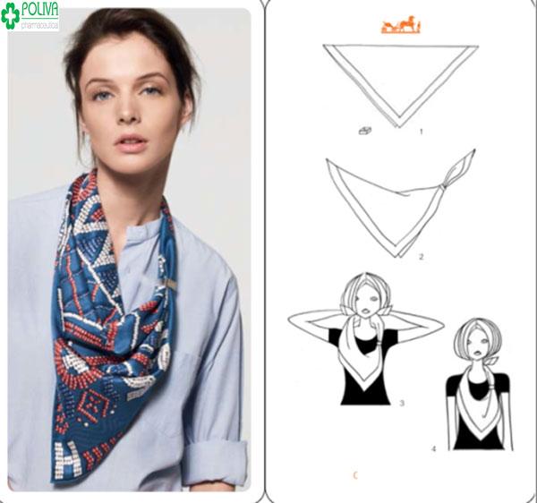 Cách quàng khăn vuông kiểu chữ V quá quen thuộc và đơn giản