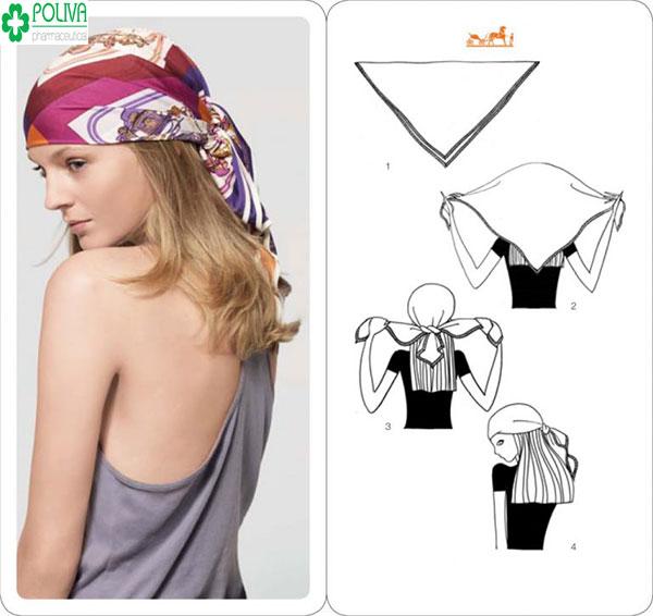 Quàng khăn chùm qua đầu thực hiện khá đơn giản mà tạo nên sự tinh tế cho bạn gái