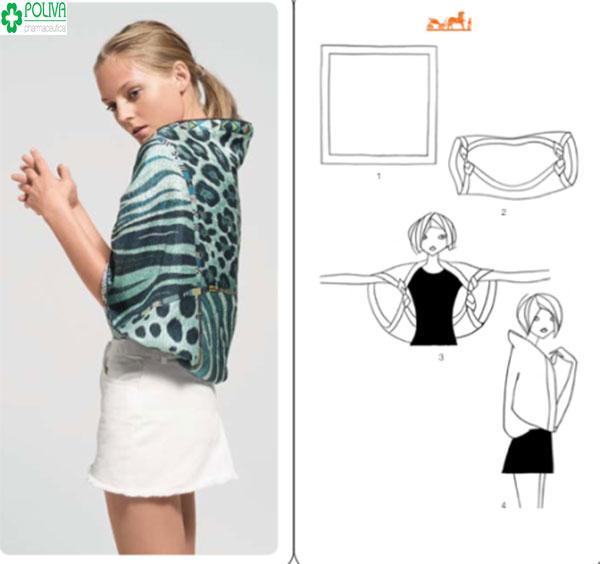 Hay bạn gái có thể sử dụng khăn vuông để tạo hình áo choàng dáng ngắn