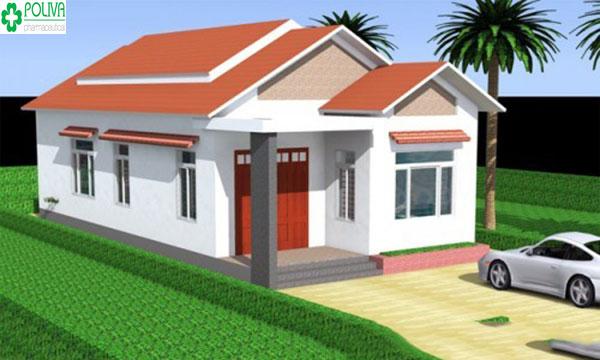 Mái đỏ truyền thống kết hợp sơn màu trắng bên ngoài cùng không gian xanh tăng nét hiện đại cho ngôi nhà