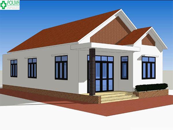 Mái nhà màu đỏ kết hợp sơn tường màu trắng tạo nên ngôi nhà vô cùng tuyệt đẹp