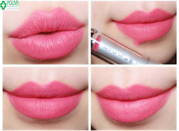 Những bạn gái có làn da ngăm nên tránh son tông màu hồng, màu son này thích hợp với những cô nàng sở hữu làn da trắng