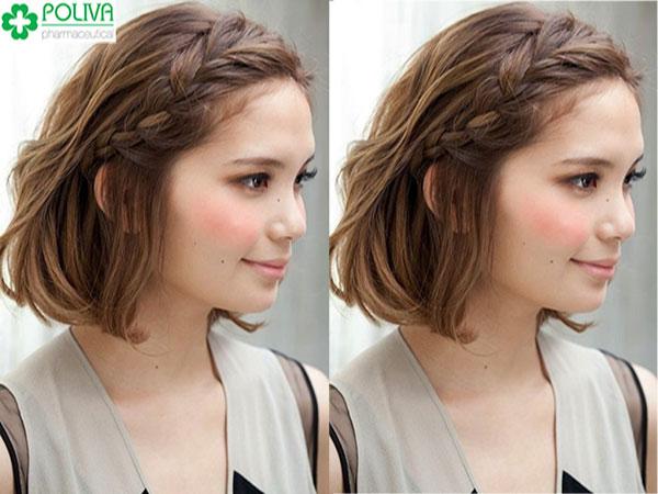 Mẫu tóc tết mái lệch đơn giản nhưng vẫn cực xinh nhé!