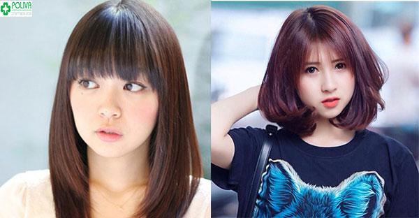 Kiểu tóc ngắn ngang vai kết hợp với kiểu mái mưa giúp che khuyết điểm gương mặt to tròn cho bạn gái