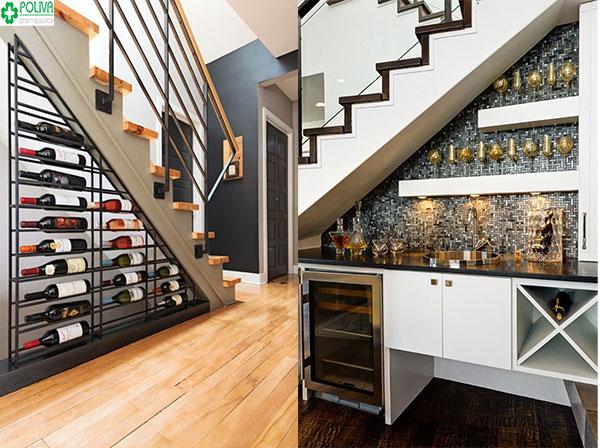 Gầm cầu thang đẹp không khác gì một quán bar nhỏ