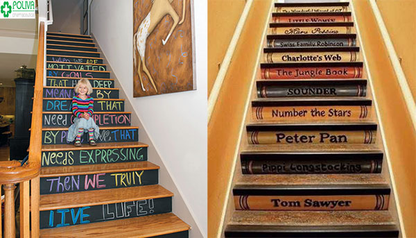 Sáng tạo với kiểu trang trí cầu thang bằng cách viết thông điệp lên từng bậc