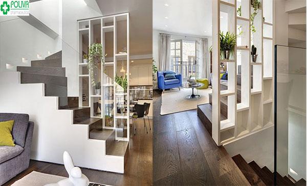 Sử dụng vách ngăn gỗ để trang trí cầu thang là một ý tưởng tuyệt vời