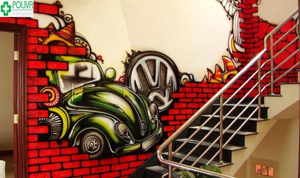 Sáng tạo trang trí cầu thang bằng cách vẽ một bức tranh tuyệt đẹp lên mảng tường, lối đi cầu thang
