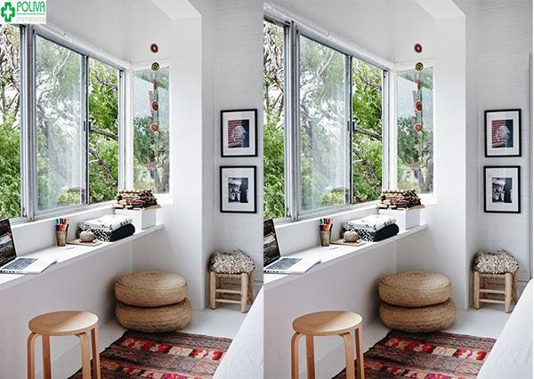 Sử dụng thảm trải sàn để trang trí cửa sổ là một trong những ý tưởng tuyệt vời